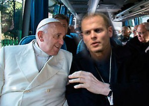 tim and pope on bus